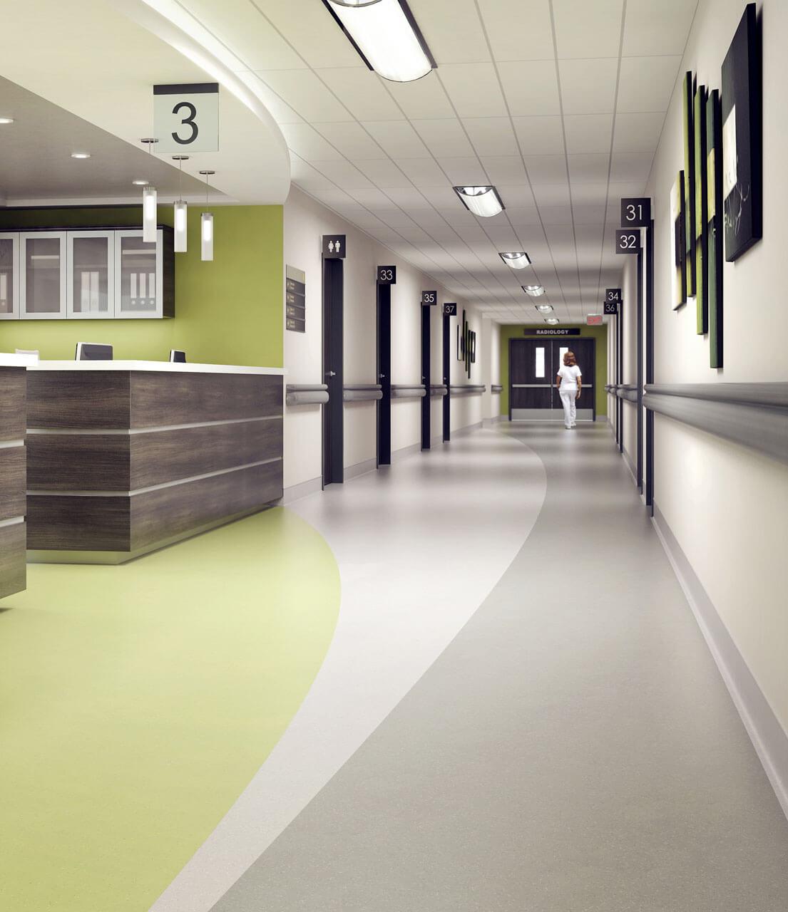 Rubber Flooring in Hospital Corridor