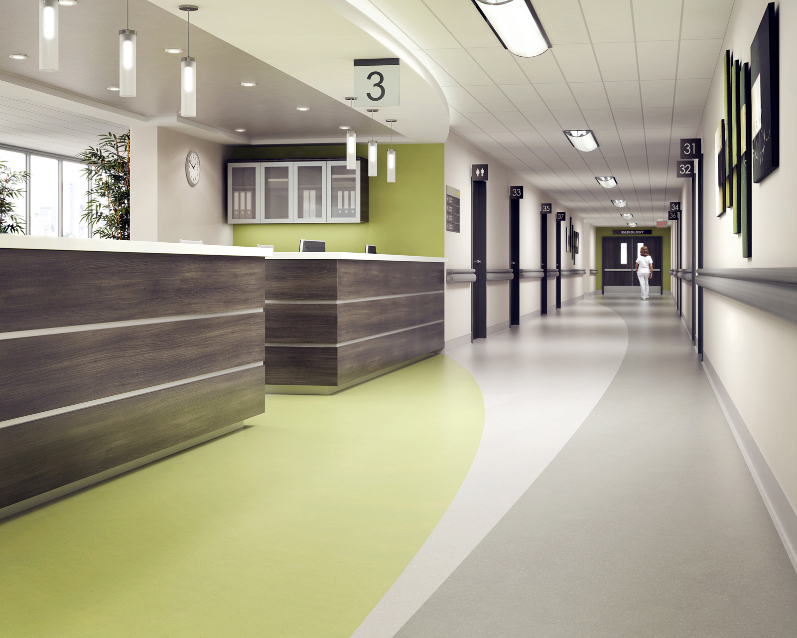 ABPure Hospital Nursing Station Rubber Commercial Flooring
