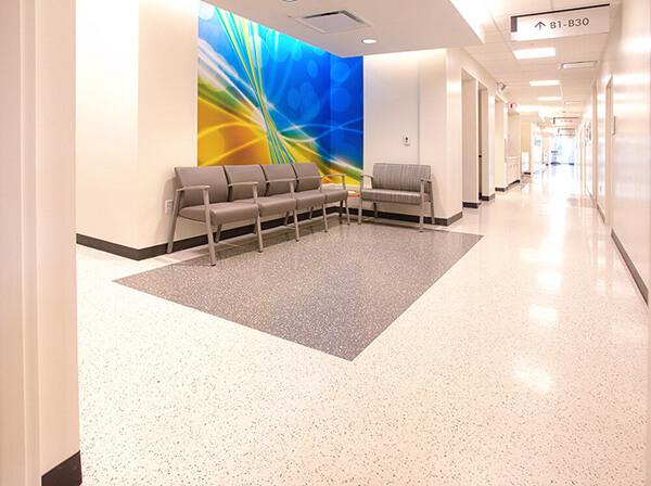 Commercial vinyl hospital flooring